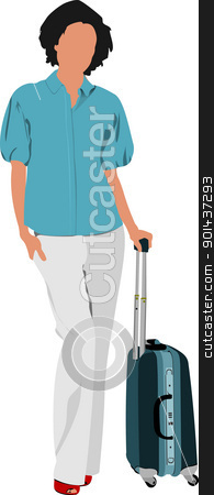 Business woman with suitcase. Vector illustration stock vector clipart, Business woman with suitcase. Vector illustration by Leonid Dorfman