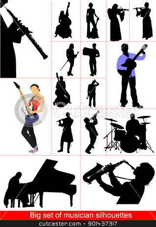 Big set of musicians silhouettes. Orcestra stock vector clipart, Big set of musicians silhouettes. Orcestra by Leonid Dorfman