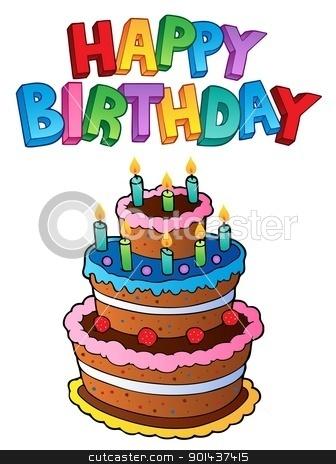 Happy Birthday topic image 1 stock vector clipart, Happy Birthday topic image 1 - vector illustration. by Klara Viskova