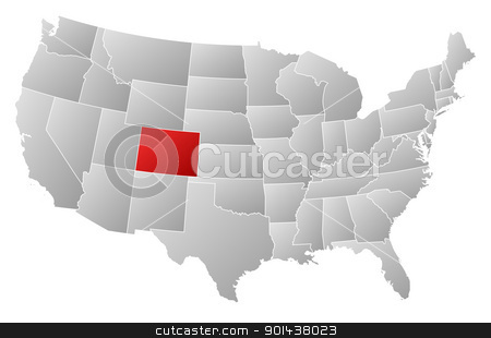 Map of the United States, Colorado highlighted stock vector clipart, Political map of United States with the several states where Colorado is highlighted. by Schwabenblitz