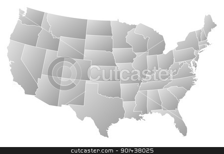 Map of the United States, Washington, D.C. highlighted stock vector clipart, Political map of United States with the several states where Washington, D.C. is highlighted. by Schwabenblitz