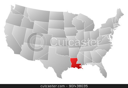 Map of the United States, Louisiana highlighted stock vector clipart, Political map of United States with the several states where Louisiana is highlighted. by Schwabenblitz