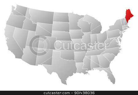 Map of the United States, Maine highlighted stock vector clipart, Political map of United States with the several states where Maine is highlighted. by Schwabenblitz
