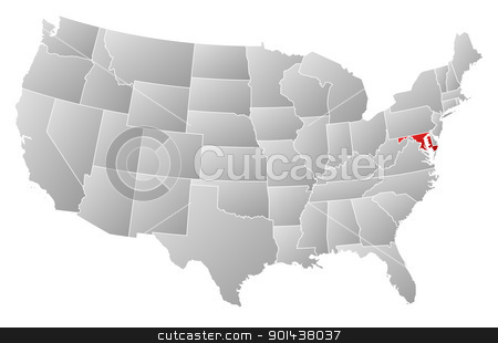 Map of the United States, Maryland highlighted stock vector clipart, Political map of United States with the several states where Marylansd is highlighted. by Schwabenblitz