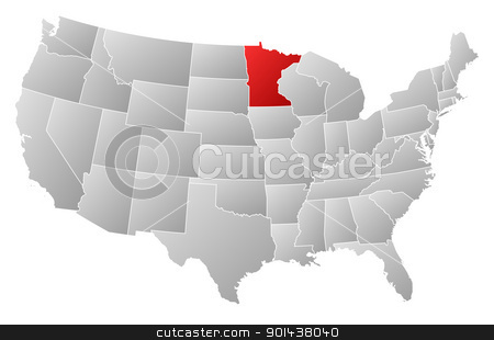 Map of the United States, Minnesota highlighted stock vector clipart, Political map of United States with the several states where Minnesota is highlighted. by Schwabenblitz