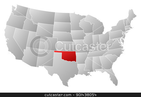 Map of the United States, Oklahoma highlighted stock vector clipart, Political map of United States with the several states where Oklahoma is highlighted. by Schwabenblitz