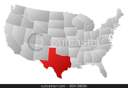 Map of the United States, Texas highlighted stock vector clipart, Political map of United States with the several states where Texas is highlighted. by Schwabenblitz
