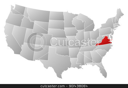 Map of the United States, Virginia highlighted stock vector clipart, Political map of United States with the several states where Virginia is highlighted. by Schwabenblitz