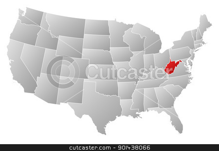 Map of the United States, West Virginia highlighted stock vector clipart, Political map of United States with the several states where West Virginia is highlighted. by Schwabenblitz