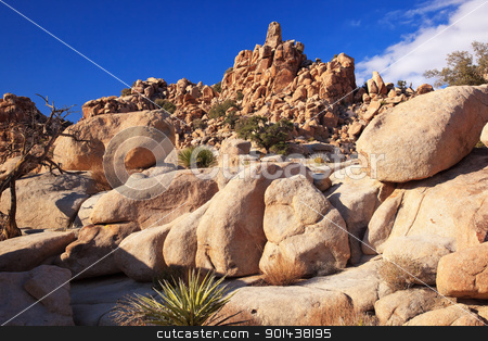 Rocks Hidden Valley Mojave Desert Joshua Tree National Park Cali stock photo, Rock Hills Hidden Valley Mojave Desert Joshua Tree National Park California by William Perry