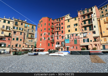 Camogli, Italy stock photo, seaside and typical homes in Camogli, Liguria, Italy by ANTONIO SCARPI