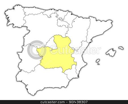 Map Of Spain La Mancha.Map Of Spain Castile La Mancha Highlighted Stock Vector
