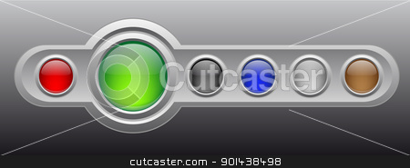 Vector glossy buttons on metal template. stock vector clipart, Vector glossy buttons on metal template. by mozzyb