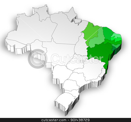Three dimensional map of Brazil with north region stock photo, Three dimensional map of Brazil with white background by marphotography