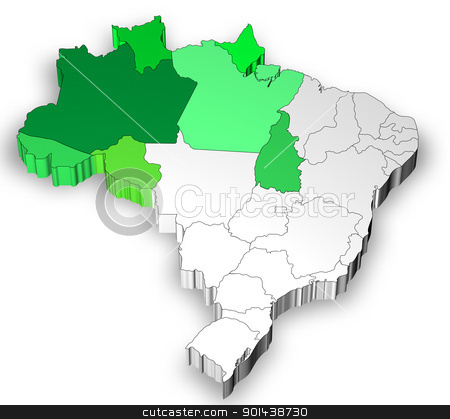 Map of Brazil with north west region stock photo, Three dimensional map of Brazil with white background by marphotography