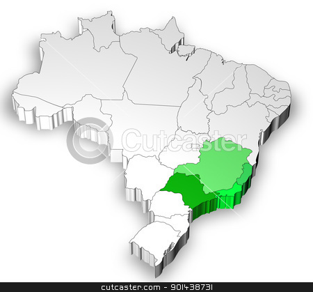 Map of Brazil with south west region stock photo, Three dimensional map of Brazil with white background by marphotography