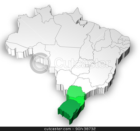Three dimensional map of Brazil with south region stock photo, Three dimensional map of Brazil with white background by marphotography