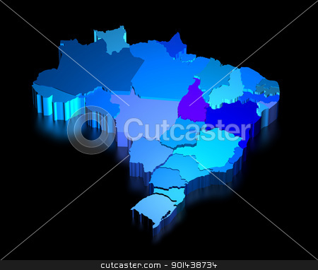 Three dimensional map of Brazil with states stock photo, Three dimensional map of Brazil with black background by marphotography