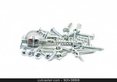 Screws and bolts stock photo, Screws, bolts and nuts  isolated on white background  by Nikola Cvetanovski