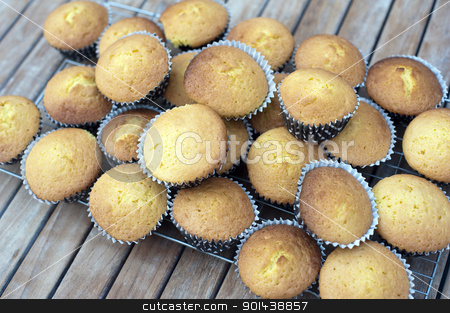 party mini cakes stock photo, a stack of fresh baked party cakes on a cooling tray by Stephen Gibson