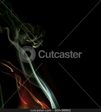 ethereal smoke effect stock photo, colorful background of smoke trails lit by colored lights by Stephen Gibson