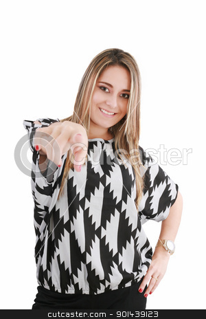 portrait of attractive smile laugh teenage girl, pointing her fi stock photo, portrait of attractive smile laugh teenage girl, pointing her finger by dacasdo