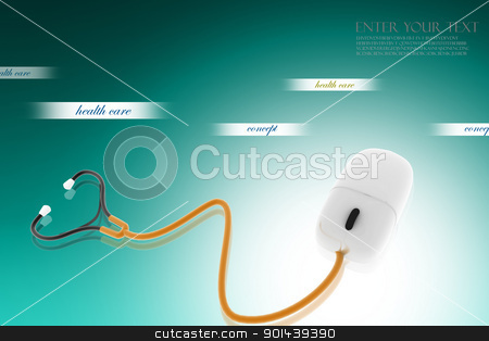 stethoscope stock photo,  Conceptual stethoscope with a computer mouse in digital design  by dileep
