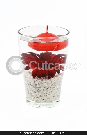Glass and flower decoration stock photo, Flower and candle in glass as a decoration isolated on white by Nikola Cvetanovski