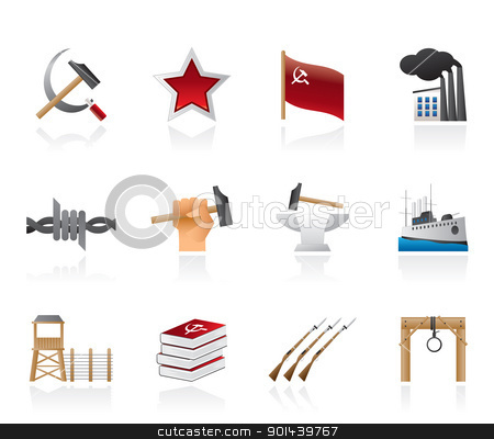 Communism, socialism and revolution icons  stock vector clipart, Communism, socialism and revolution icons - vector icon set by Stoyan Haytov