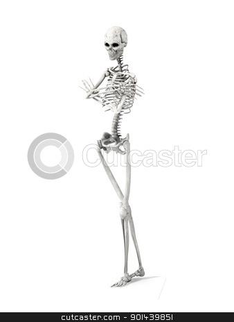 Bored Skeleton stock photo, 3D rendered Illustration. A bored Skeleton.  by Michael Osterrieder
