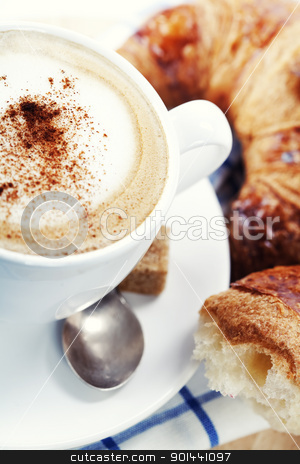 coffee and croissants stock photo, Breakfast with coffee and croissants by klenova