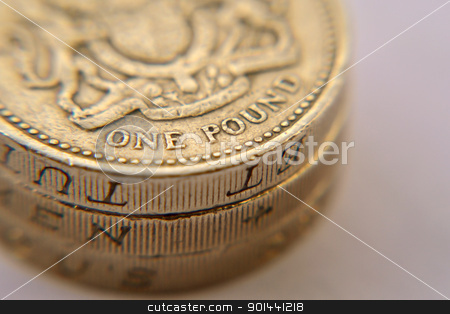 British one pound coins stock photo, British one pound coins by Haider Azim