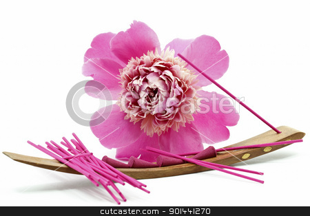 Incense stick with flower stock photo, Beautiful Pink Peony Flower with pink incense sticks isolated on white background by Nikola Cvetanovski