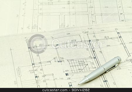Blueprints stock photo, Blueprints detail background, architectural project  by Nikola Cvetanovski