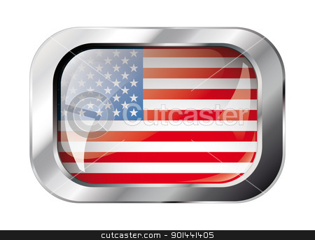 america shiny button flag vector illustration. Isolated abstract stock vector clipart, america shiny button flag vector illustration. Isolated abstract object against white background. by mozzyb