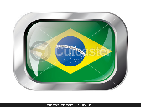 brazil shiny button flag vector illustration. Isolated abstract  stock vector clipart, brazil shiny button flag vector illustration. Isolated abstract object against white background. by mozzyb