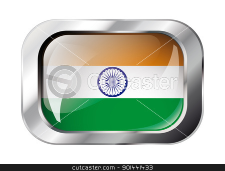 india shiny button flag vector illustration. Isolated abstract o stock vector clipart, india shiny button flag vector illustration. Isolated abstract object against white background. by mozzyb
