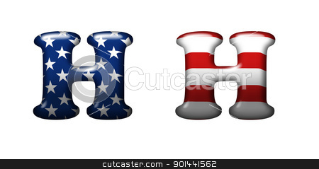 Exclusive collection letters with american stars and stripes iso stock photo, Exclusive collection letters with american stars and stripes isolated on white background - H by mozzyb