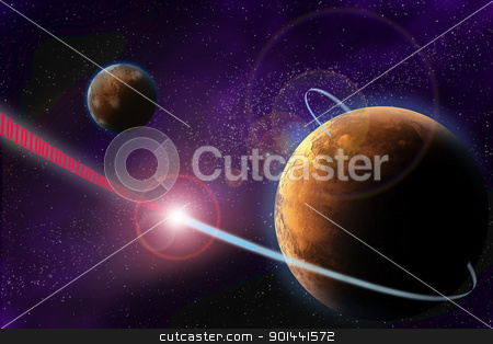 Illustration of deep space with planet. Laser beam with binary c stock photo, Illustration of deep space with planet. Laser beam with binary code for future digital communication. Abstract picture with dark background. by mozzyb