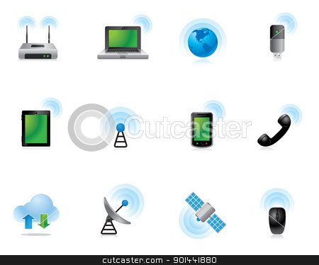 Web Icons - Wireless World stock vector clipart, Wireless technology icon set.  Fully editable EPS file format. by puruan