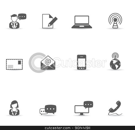 Single Color Icons - Communication stock vector clipart,