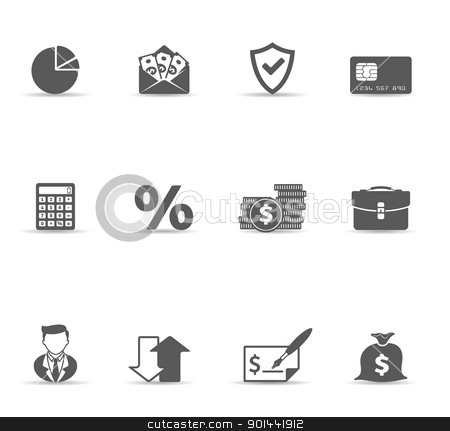 Single Color Icons - More Finance  stock vector clipart, Finance icon set.  Font source:  http://www.fontsquirrel.com/fonts/amaranth    http://www.fontsquirrel.com/fonts/aller      http://www.fontspace.com/digital-graphics-labs/bitwise  by puruan