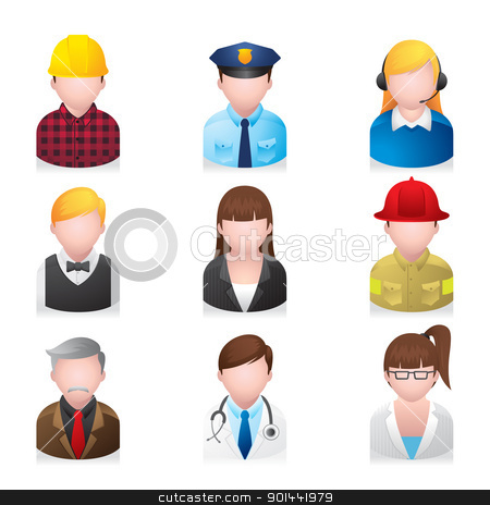 Web Icons - Professional People 2 stock vector clipart, A set of professional people icons. Fully editable EPS file format. by puruan