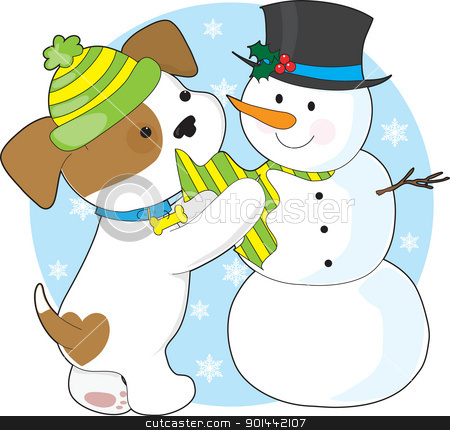 Cute Puppy and Snowman stock vector clipart, A cute puppy with a striped toque, plays with a snowman with a top-hat and striped scarf. by Maria Bell