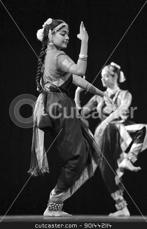 Indian BharataNatyam dancers stock photo, CHENGDU - OCT 24: Indian folk dance