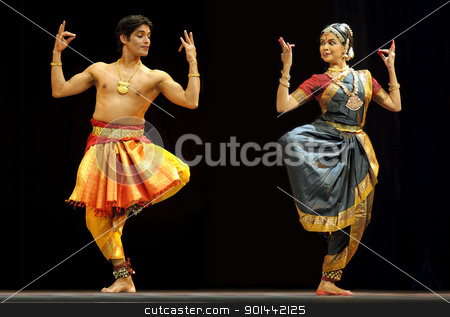 Indian BharataNatyam dancers  stock photo, CHENGDU - OCT 24: Indian BharataNatyam dance performed by Kalakshetra dance institute of India at JINCHENG theater during the festival of India in china.Oct 24, 2010 in Chengdu, China. by jackq