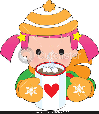 Child and Hot Chocolate stock vector clipart, A child dressed for winter with toque and mitts, has a mug of hot chocolate with floating marshmallows. by Maria Bell
