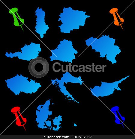 European countries travel maps stock photo, European countries travel maps with push pins on black background. by Martin Crowdy