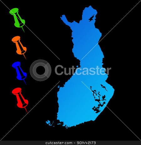 Finland travel map stock photo, Finland travel map with push pins on black background. by Martin Crowdy