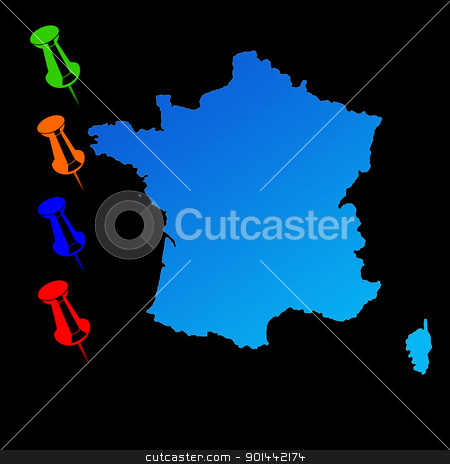 France travel map stock photo, France travel map with push pins on black background. by Martin Crowdy